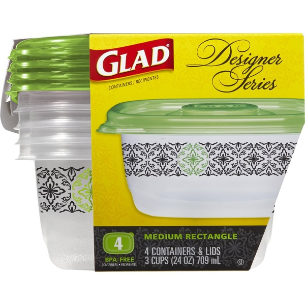 Glad Designer Series Plastic Containers and Lids Medium Rectangle 3-Cups - 4 CT