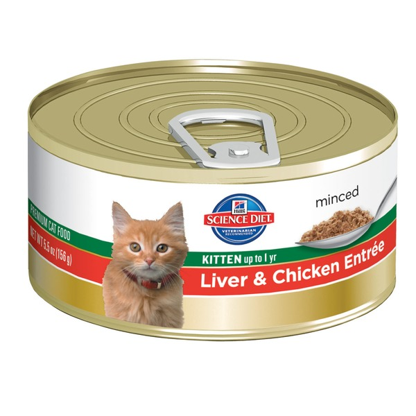 Hill's Science Diet Cat Food, Kitten (Up to 1 Year), Liver & Chicken Entree, Minced