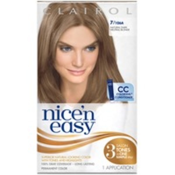 Clairol Nice 'n Easy, 7/106A Natural Dark Blonde, Permanent Hair Color, 1 Kit Female Hair Color