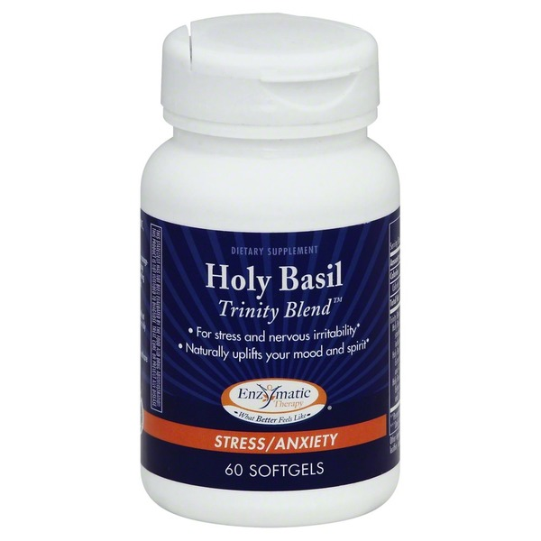 Enzymatic Therapy Holy Basil, Stress/Anxiety, Softgels, Trinity Blend, Bottle