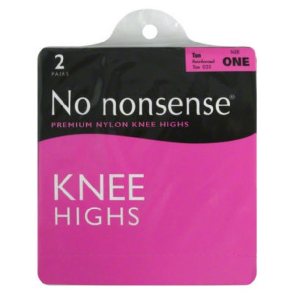 No Nonsense Tan Knee Highs Size One