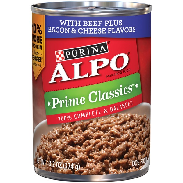 Alpo Wet Prime Classics With Beef Plus Bacon & Cheese Flavors Dog Food