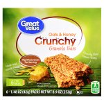 Great Value Crunchy Granola Bars, Oats & Honey, 1.4 oz, 6 Count