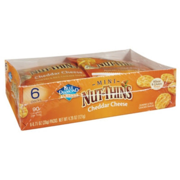Blue Diamond Mini Nut-Thins Cheddar Cheese Almond & Rice Cracker Snacks