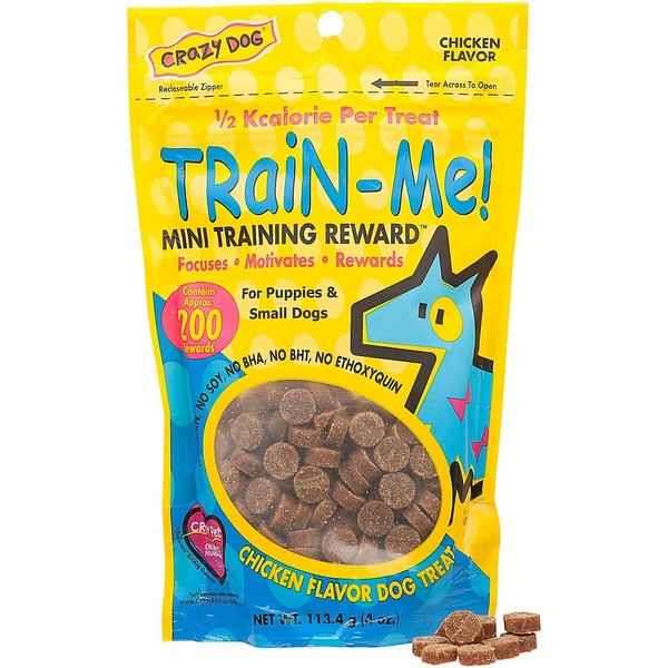 Crazy Dog Train Me Mini Training Reward Chicken Dog Treats 4 Oz. 200 Count.
