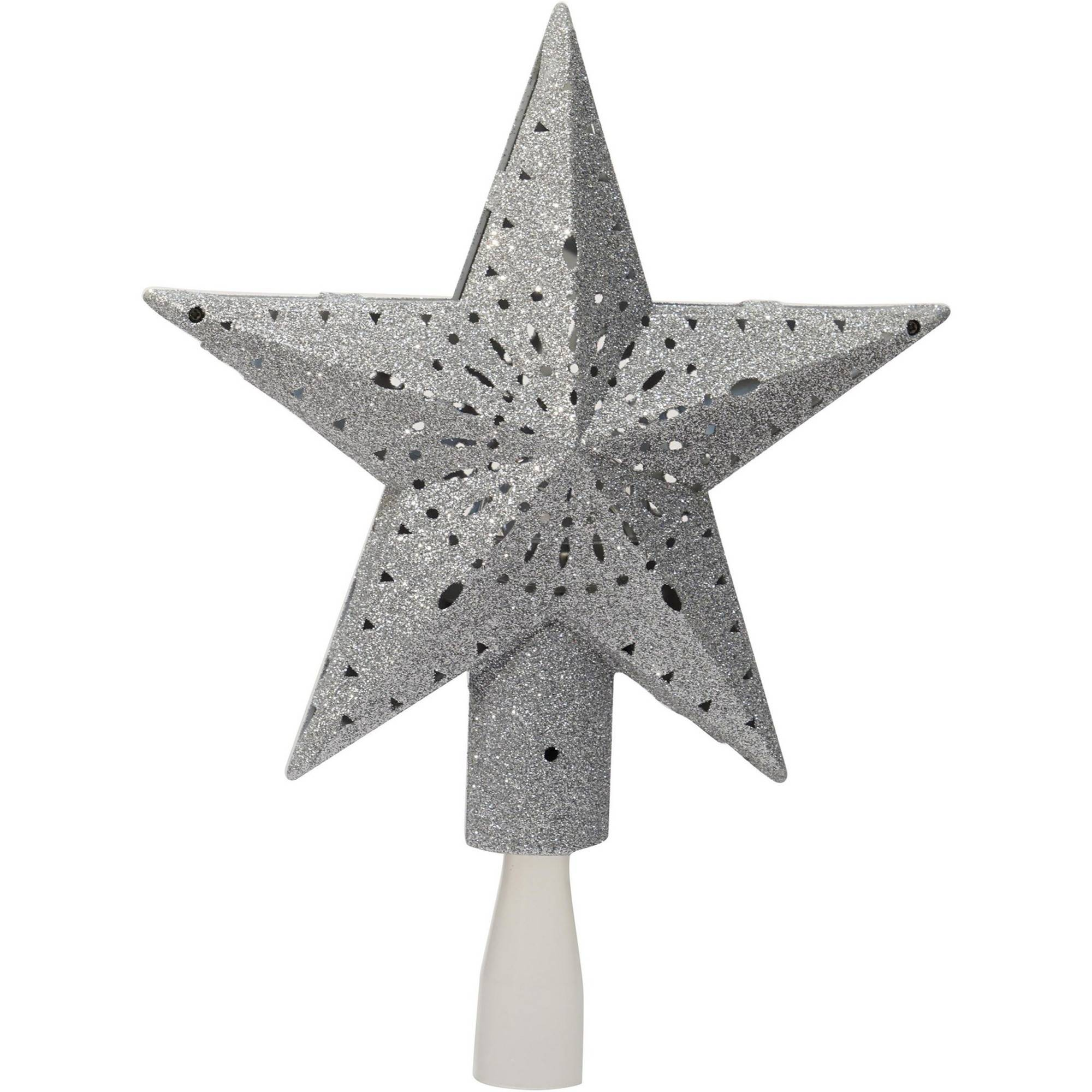 Holiday Time Christmas Ornaments 11.375 Silver Star Tree Topper with 3 LED Cool White Lights