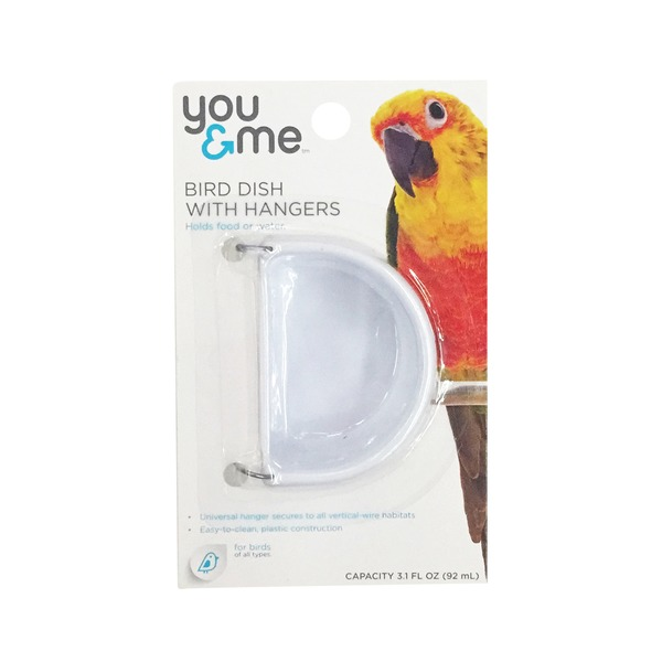 You & Me Small Plastic Bird Dish With Hangers