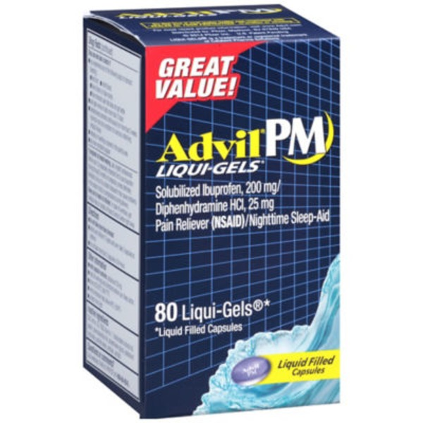 Advil PM Liqui-Gels Liquid Filled Capsules Pain Reliever/Nighttime Sleep-Aid