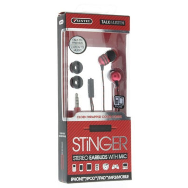 Sentry Pro Red Stinger Stereo Earbuds With Mic
