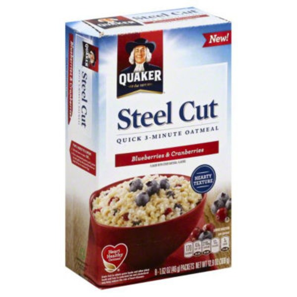 Quaker Oatmeal Steel Cut 3 Minute Blueberries & Cranberries Oatmeal