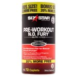 Six Star Pro Nutrition Elite Series Pre-Workout N.O. Fury Energy Caplets, 72 Ct