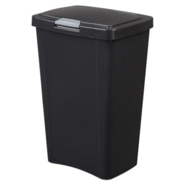 Sterilite 13 Gal Black Touch Top Wastebasket