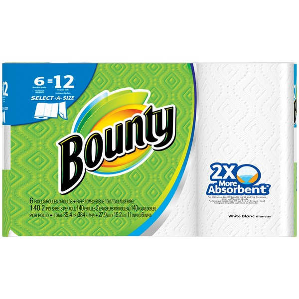 Bounty Basic Select-A-Size White Double Rolls Paper Towels