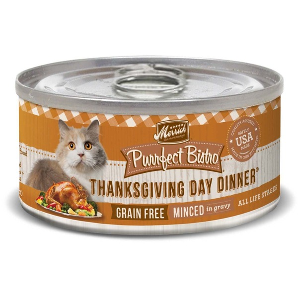Merrick Purrfect Bistro Thanksgiving Day Dinner Grain Free Minced in Gravy All Life Stages Cat Food