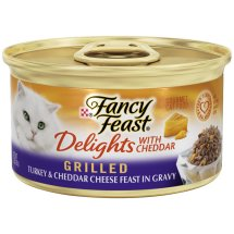 Purina Fancy Fest Delights Grilled Turkey & Cheddar Cheese Feast in Gravy Cat Food 3 oz. Can