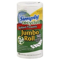 Simply Recycled Paper Towels, Quilted, Jumbo Roll, White, 2-Ply