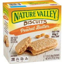Nature Valley Biscuits, Peanut Butter, Breakfast Biscuits with Nut Filling, 5 Bars - 1.4 oz, 1.35 OZ