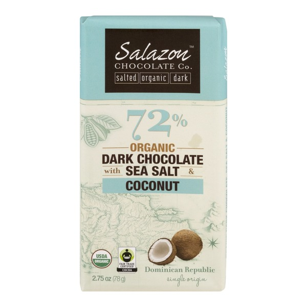 Salazon Chocolate Co. Organic Dark Chocolate Sea Salt & Coconut