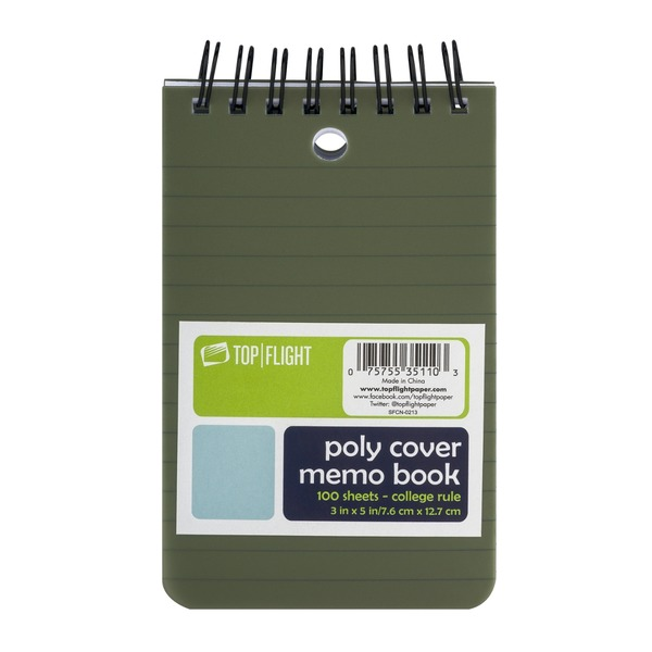 Top Flight Poly Cover Memo Book College Rule - 100 Sheets