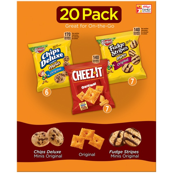 Keebler Chips Deluxe/Cheez-It/Fudge Stripes Variety Pack Snacks