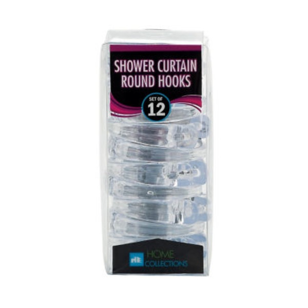 Home Collection Clear Round Shower Curtain Hooks