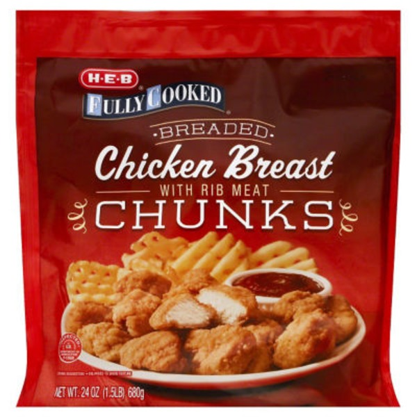 H-E-B Fully Cooked Breaded Chicken Breast Chunks