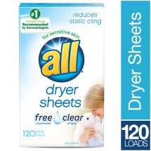 All Dryer Sheets, Free & Clear, 120 Sheets