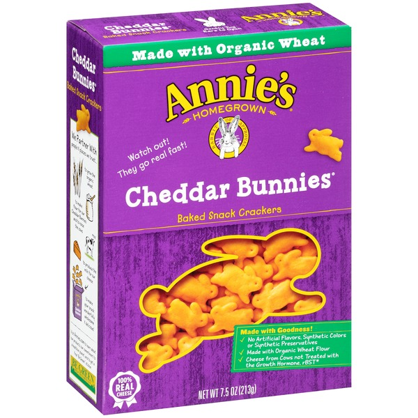 Annie's Homegrown Cheddar Bunnies Snack Crackers Cheddar Bunnies