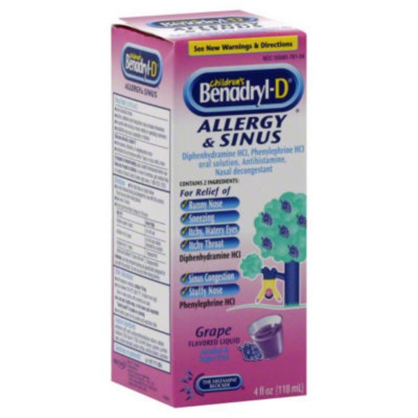 Benadryl D® Grape Flavored Liquid (New Directions) Allergy & Sinus