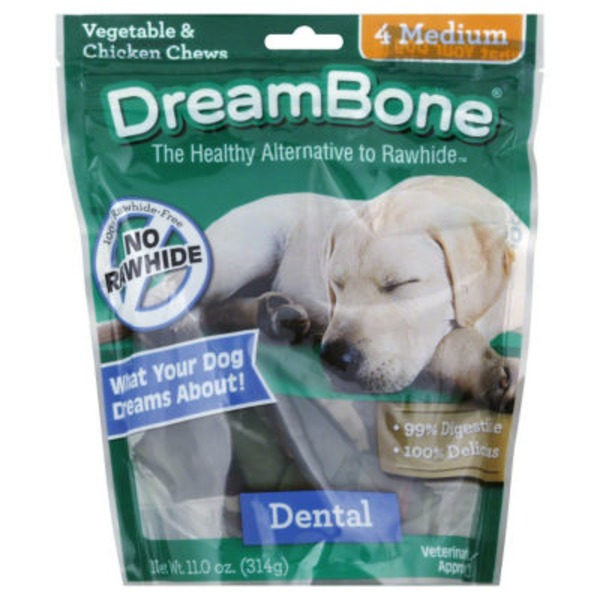 DreamBone Dental Vegetable & Chicken Dog Chews Medium