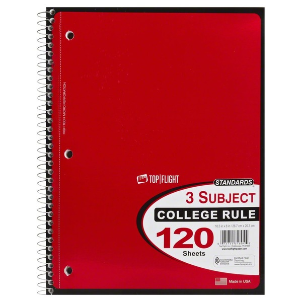 Top Flight Notebook, 3 Subject, College Rule, 120 Sheets