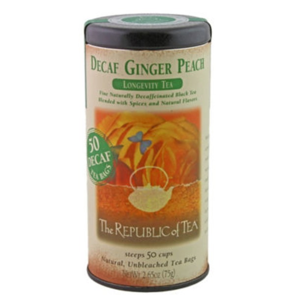 The Republic of Tea Ginger Peach Decaf Longevity Tea Bags