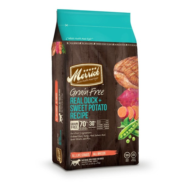 Merrick Grain Free Real Duck & Sweet Potato Dry Dog Food 12 Lbs.