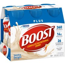 BOOST PLUS Complete Nutritional Drink, Vanilla Delight, 8 fl oz Bottle, 6 Pack