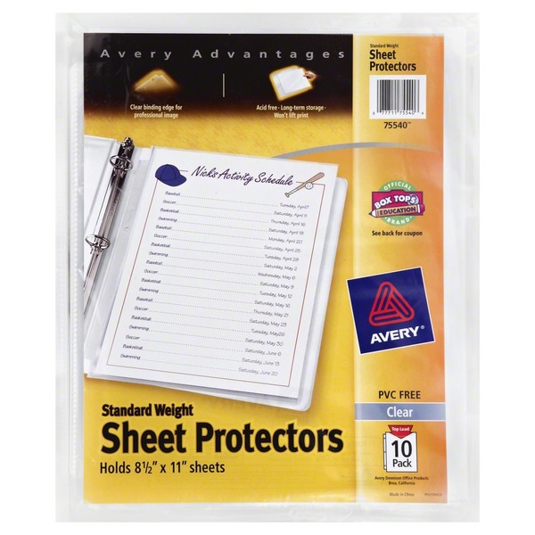 Avery Sheet Protectors, Standard Weight, 10 Pack, Wrapper