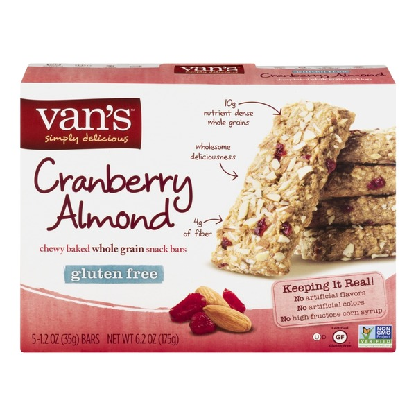 Van's Chewy Baked Whole Grain Snack Bars Cranberry Almond - 5 CT