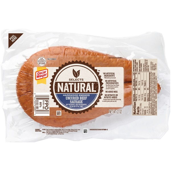Oscar Mayer Sausage Selects Natural Hardwood Smoked Uncured Beef Sausage