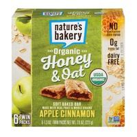 Nature's Bakery Organic Honey & Oat Soft Baked Bar Apple Cinnamon - 6 PK