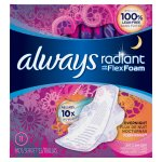 Always Radiant Overnight Pads with Wings, Scented, 11 Count