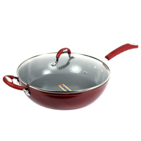 H-E-B Kitchen & Table Red Saute Pan With Glass Lid