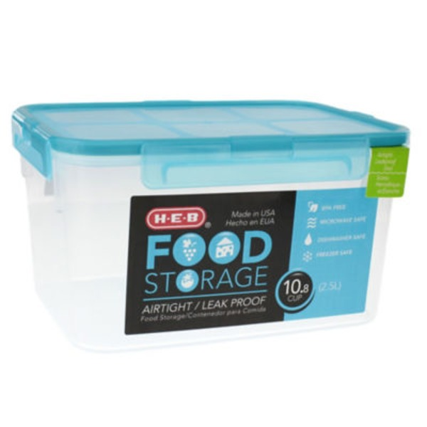 H-E-B 10.8 Cup Airtight Leak Proof Food Storage Container With Turquoise Lid