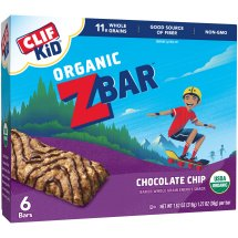 Clif Kid Organic Zbar Bar, 2 Grams of Protein, Chocolate Chip, 1.27 Oz, 6 Ct