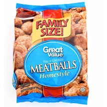 Great Value Fully Cooked Homestyle Meatballs, Family Size, 48 oz