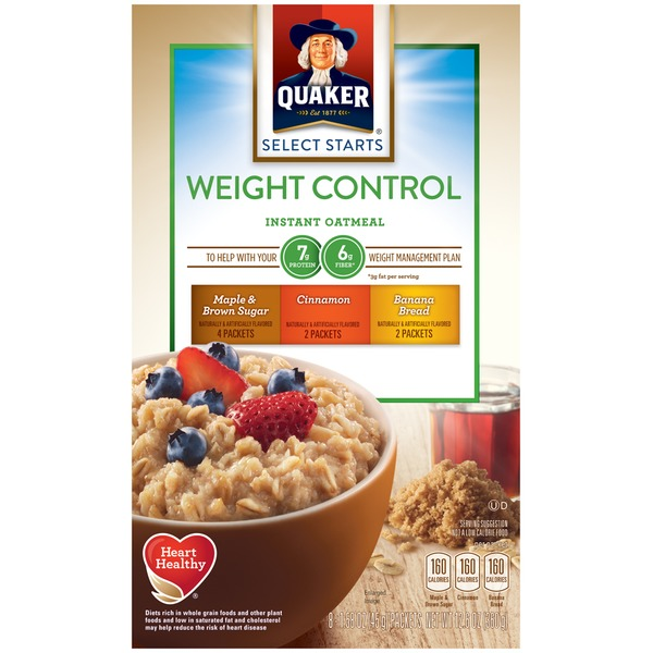 Quaker Oatmeal Select Starts Weight Control Variety Pack Maple & Brown Sugar/Cinnamon/Banana Bread Instant Oatmeal
