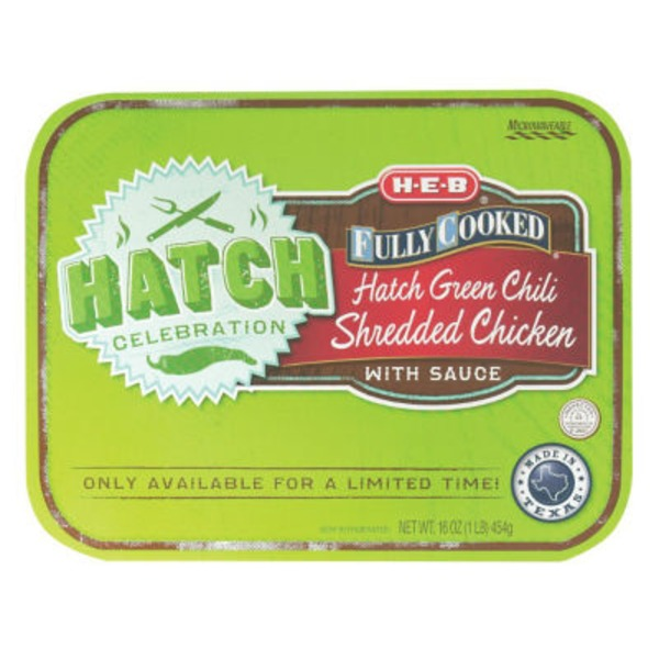 H-E-B Fully Cooked Hatch Green Chili Shredded Chicken With Sauce