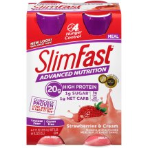 SlimFast Advanced Nutrition Meal Replacement Shake, Strawberries and Cream, 11 Fl oz, 4 Ct