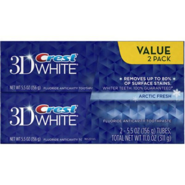 Crest 3D White Crest 3D White Arctic Fresh Icy Cool Mint Flavor Whitening Toothpaste, 4.8 oz TWIN Dentifrice