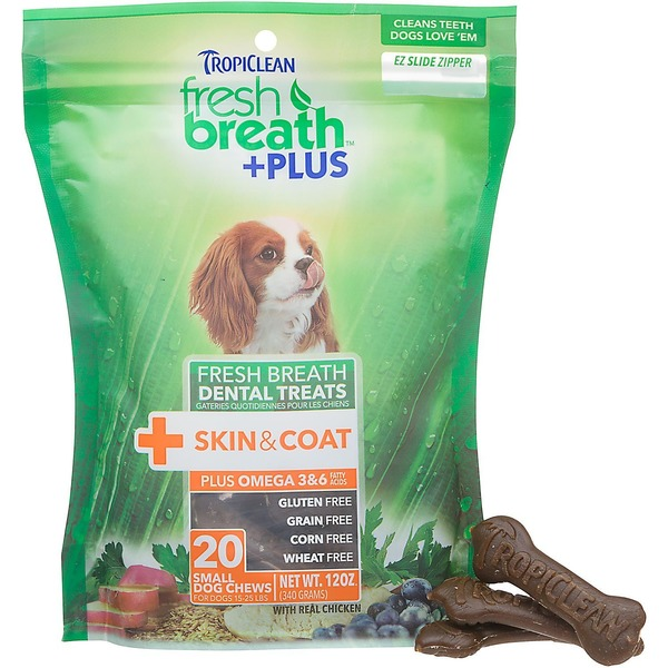 Tropiclean Fresh Breath Plus Skin & Coat Dental Chews For Small Dogs
