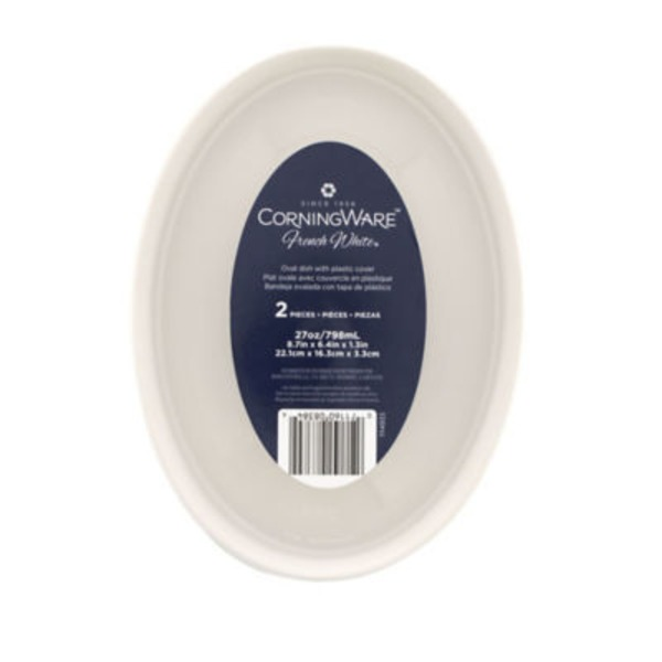 Corningware Oval Dish with Plastic Cover, 27 oz, French White, Not Packaged