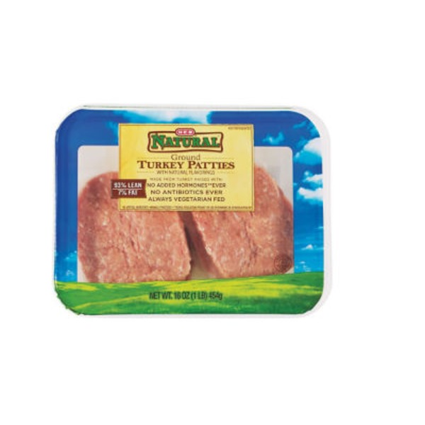 H-E-B Natural 93% Lean Ground Turkey Patties